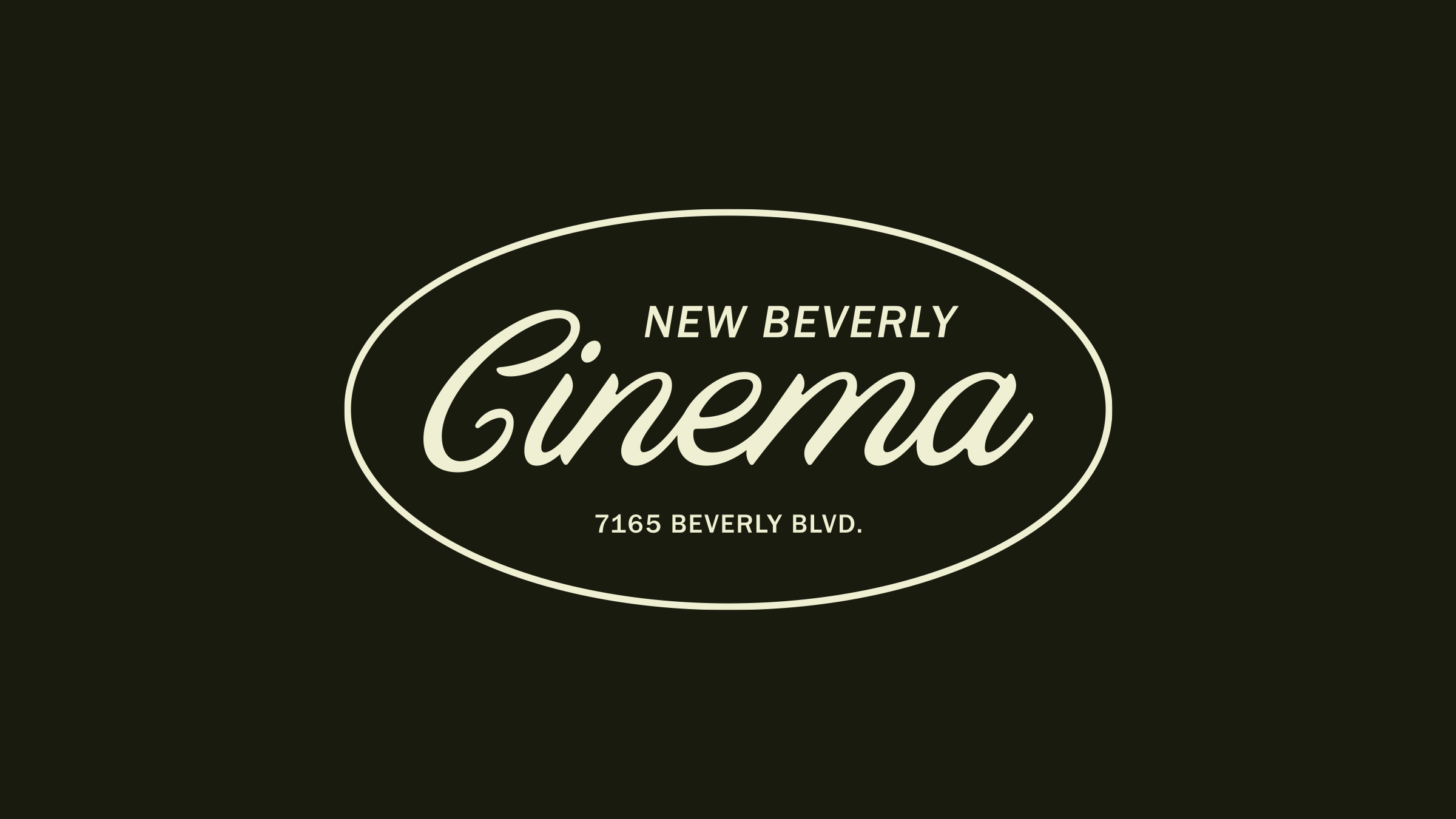 New Bev Cinema brand logo cream on black