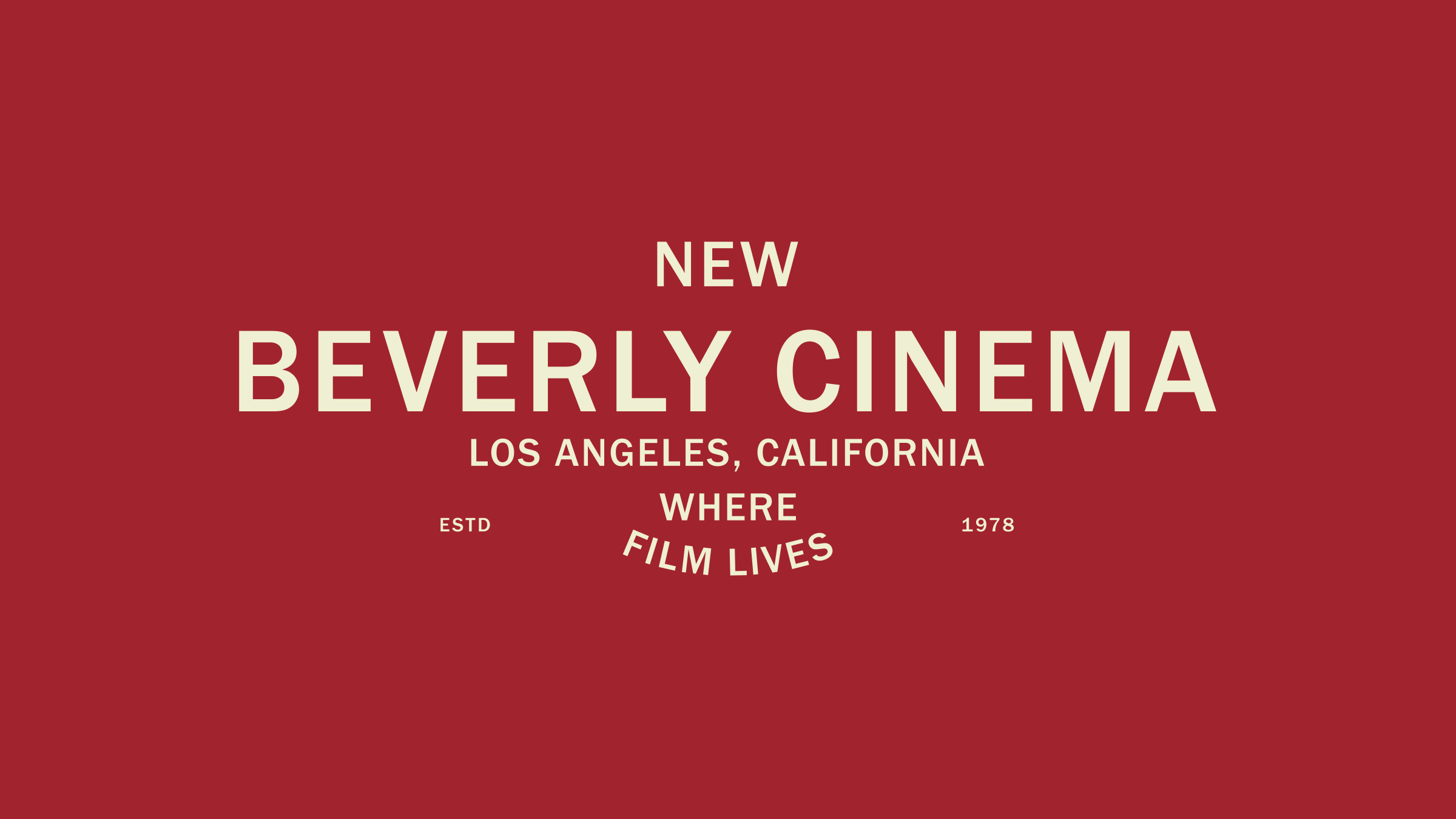 New Bev Cinema brand logo cream on red