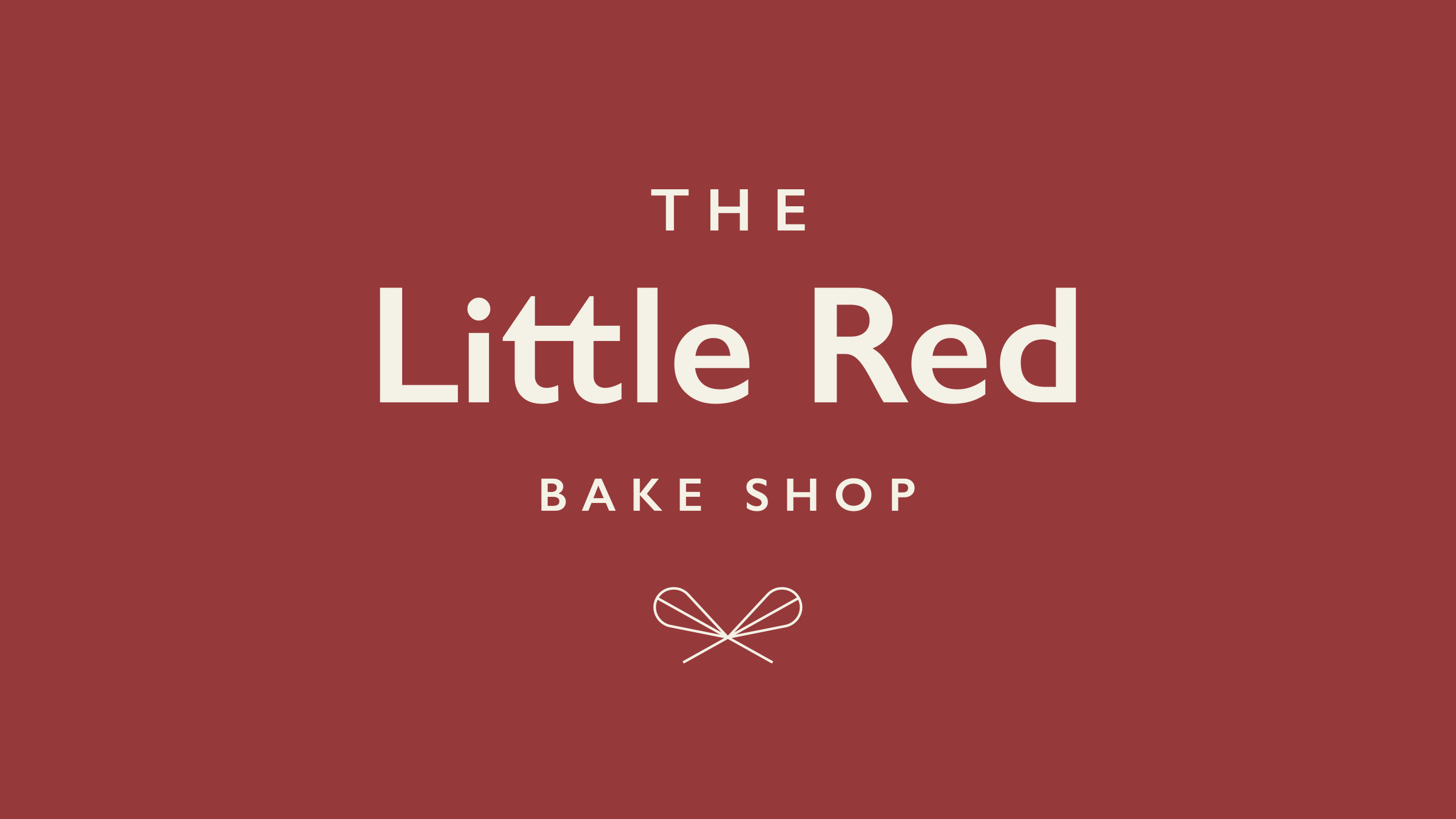 The Little Red Bake Shop brand logo cream on red