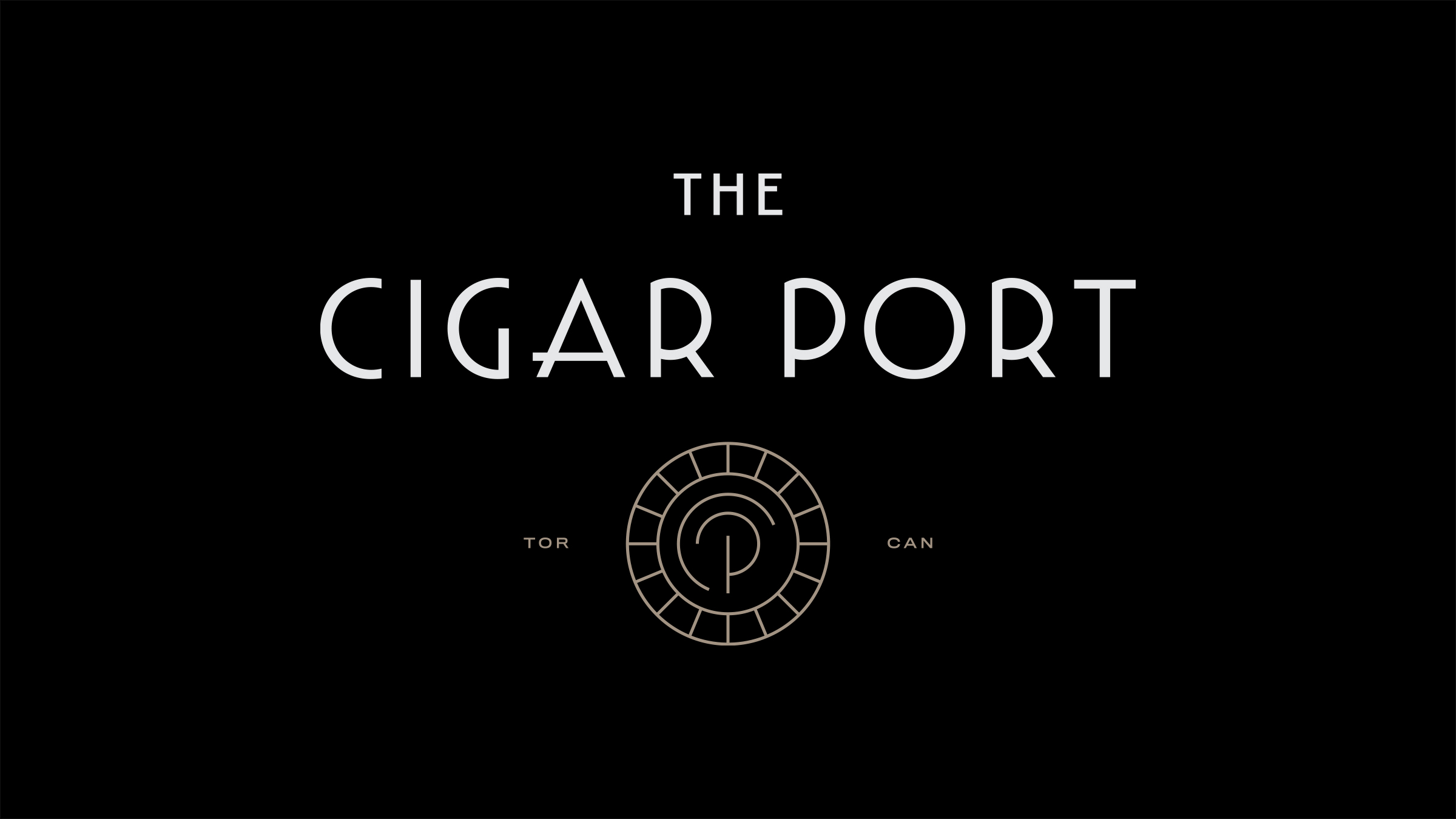 The Cigar Port brand logo white and gold on black