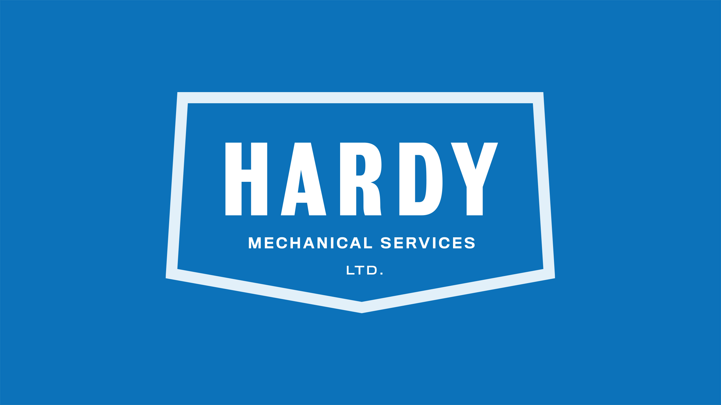 Hardy Mechanical Services brand logo white on blue