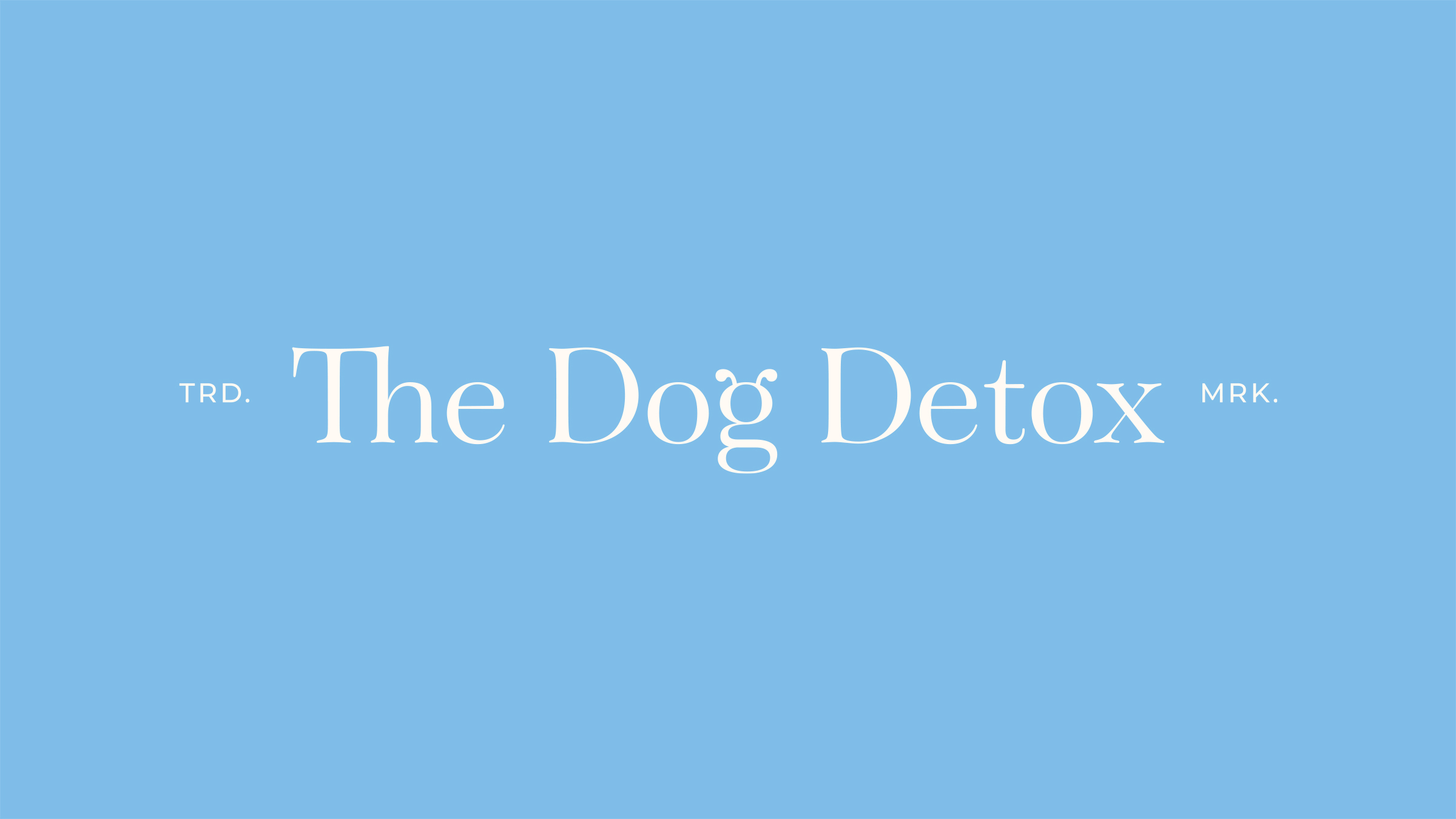 The Dog Detox brand logo white on baby blue