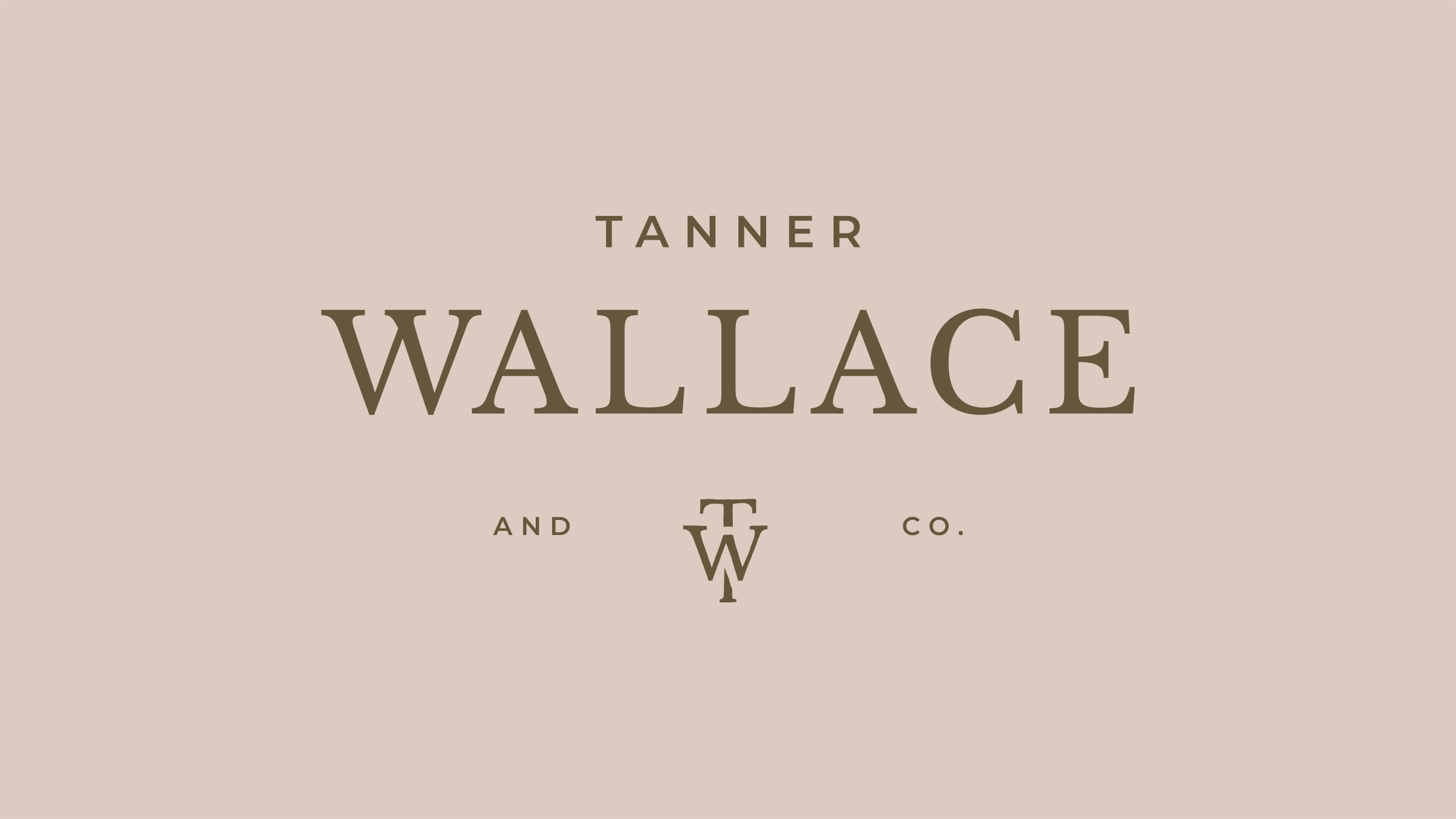 Tanner Wallace and Co. brand logo brown on cream