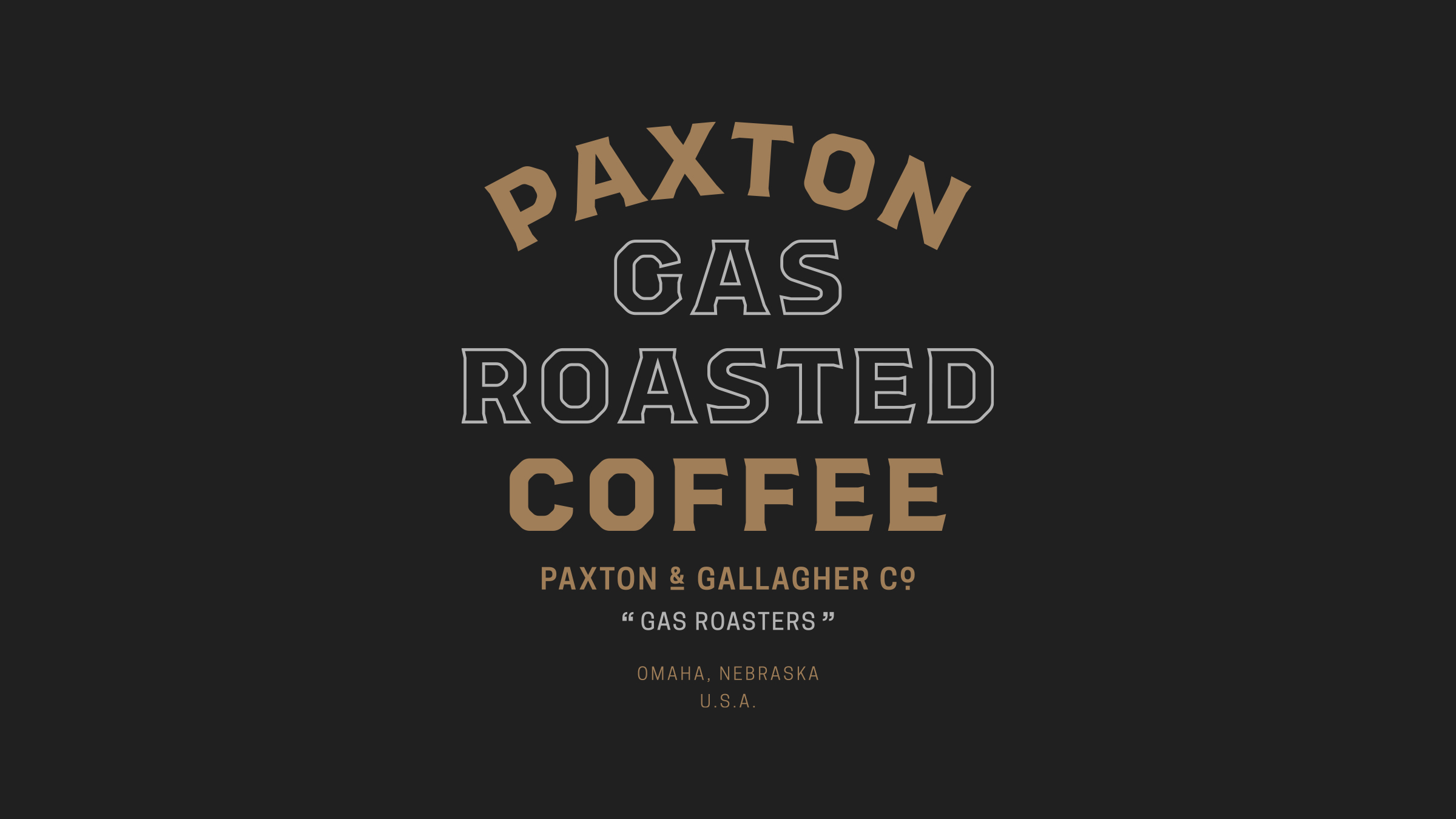 Paxton Gas Roasted Coffee brand logo gold and white on black