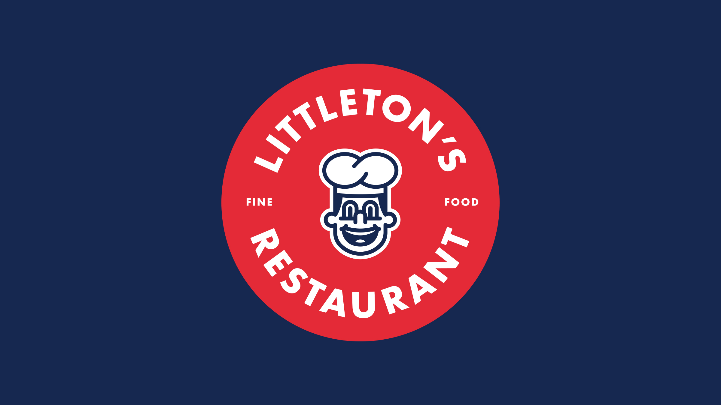 Littleton's Restaurant brand logo red and white on blue