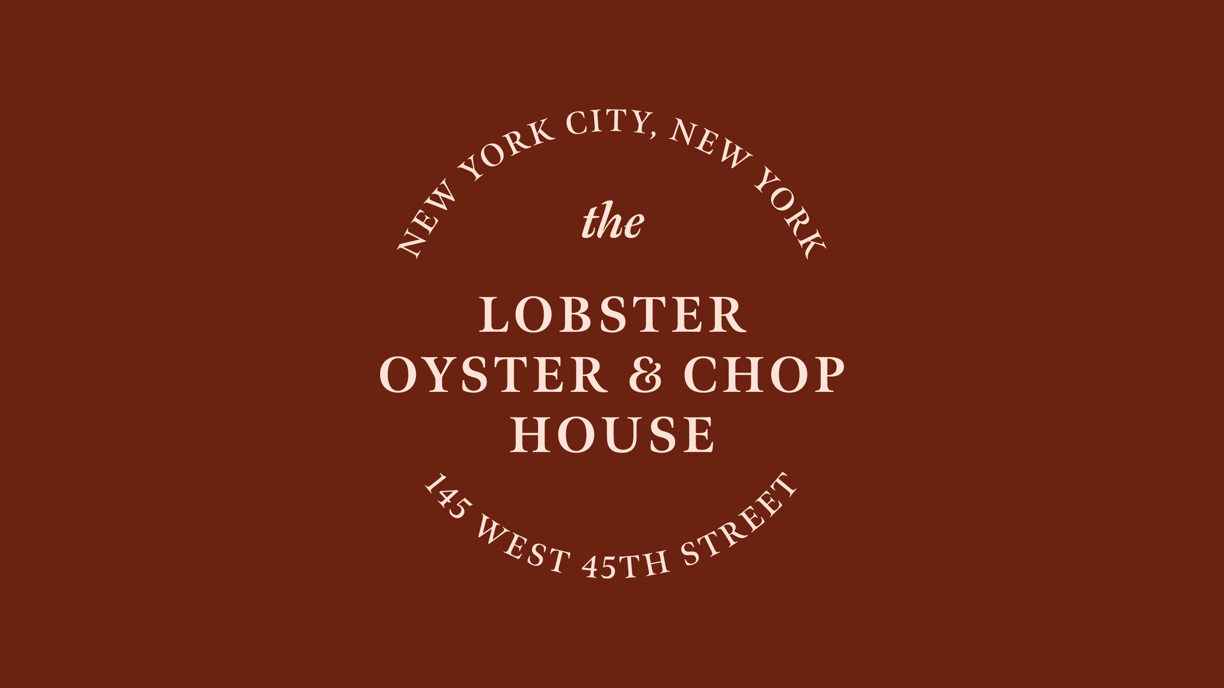 The Lobster Oyster & Chop House brand logo cream on brown