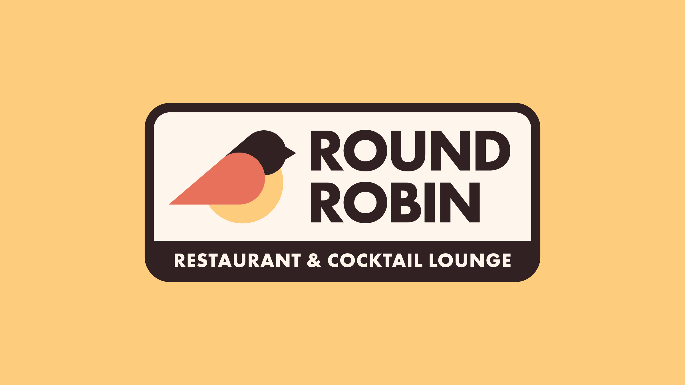Round Robin Restaurant brand logo brown on yellow