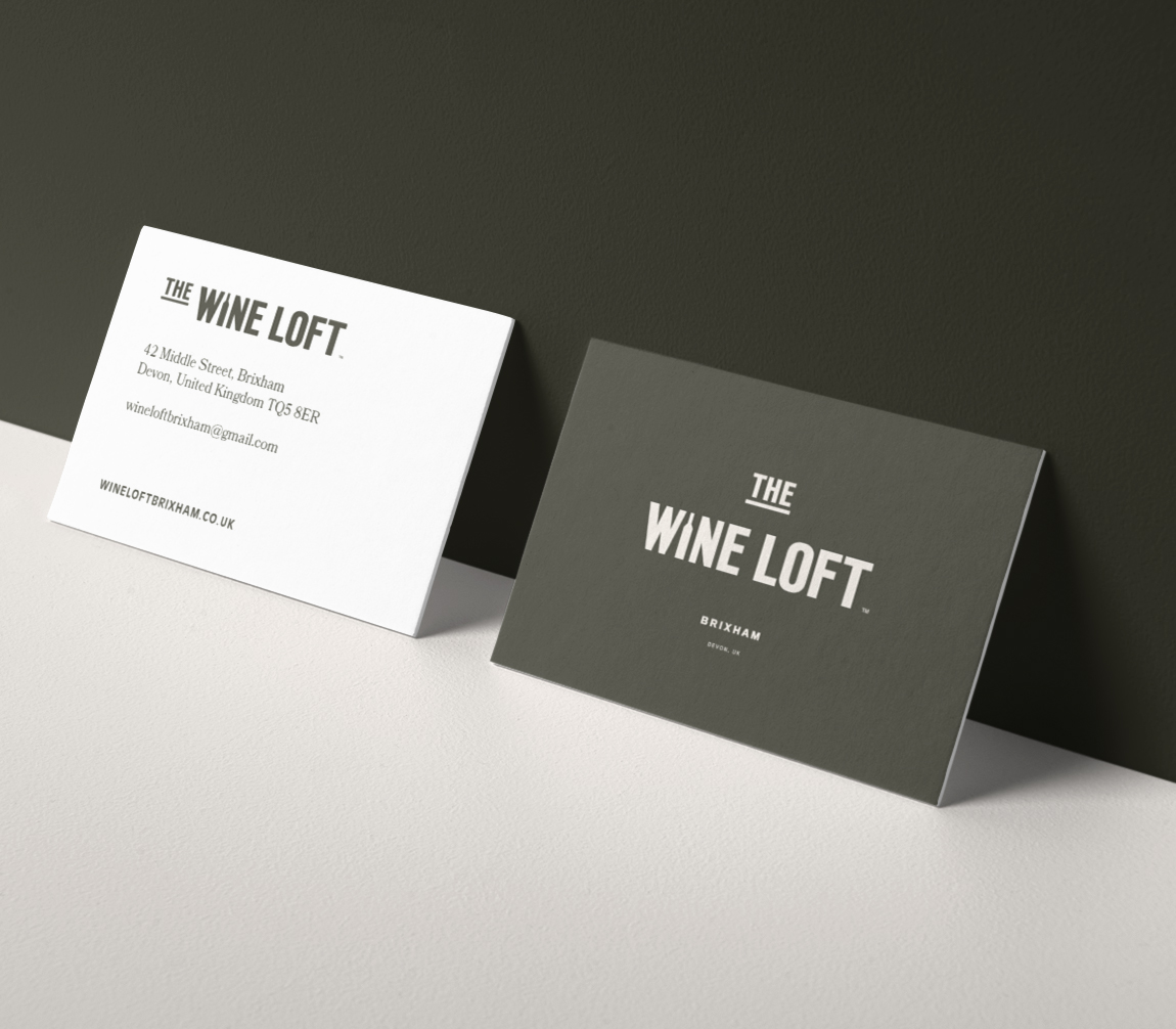 The Wine Loft brand stationery business cards