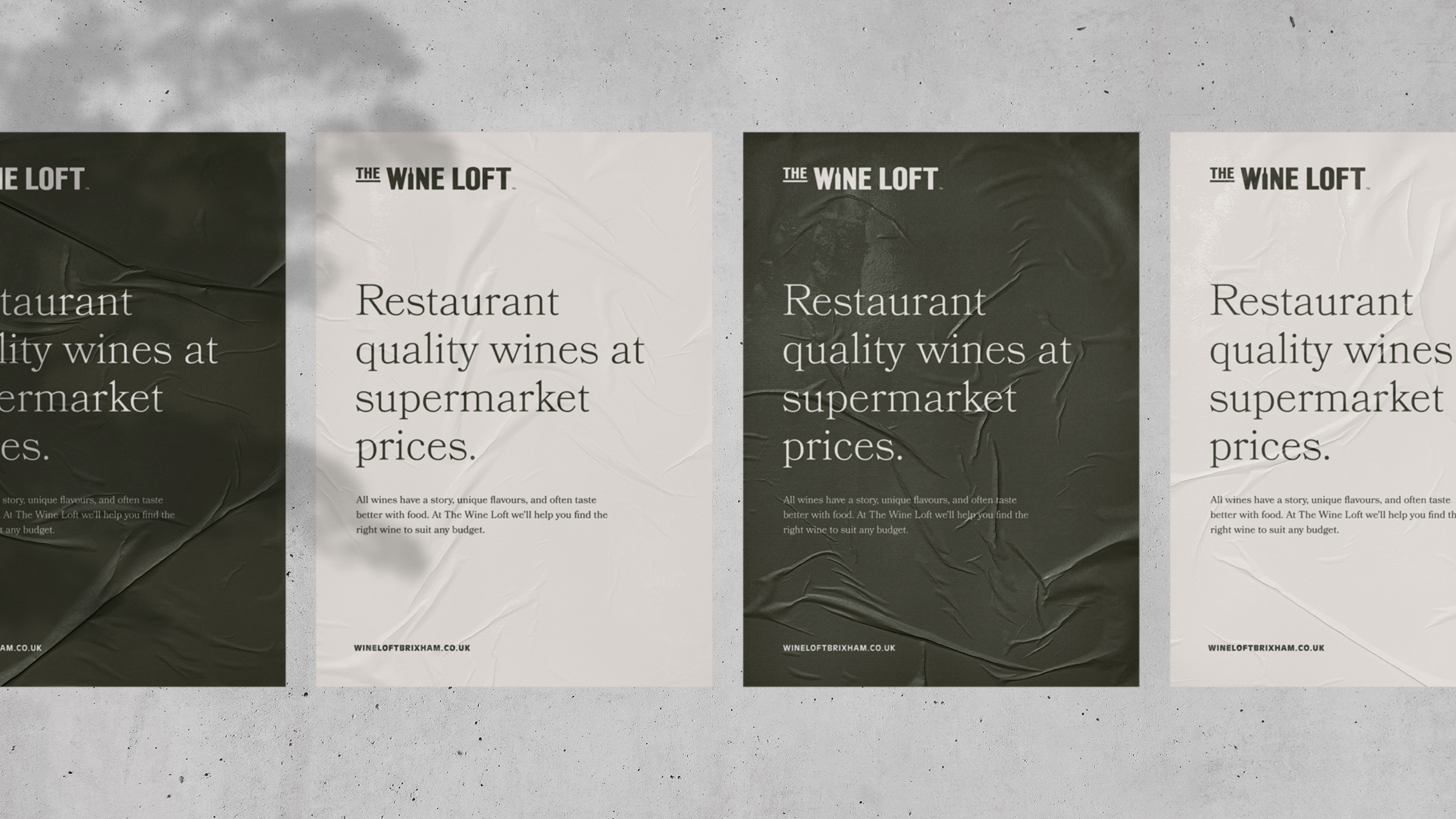 The Wine Loft brand marketing posters