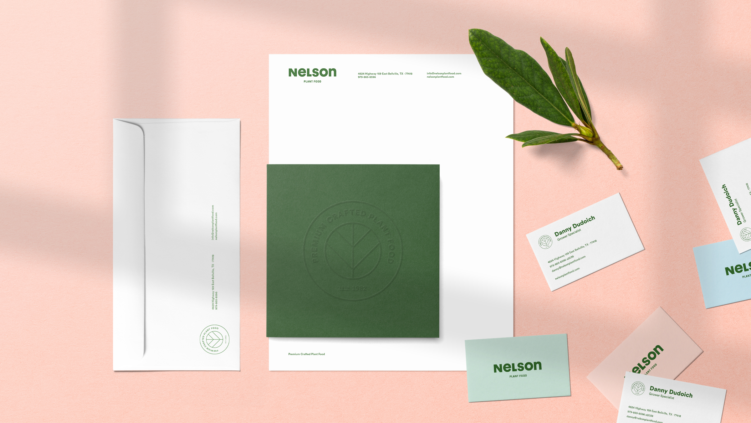 Nelson Plant Food brand stationery
