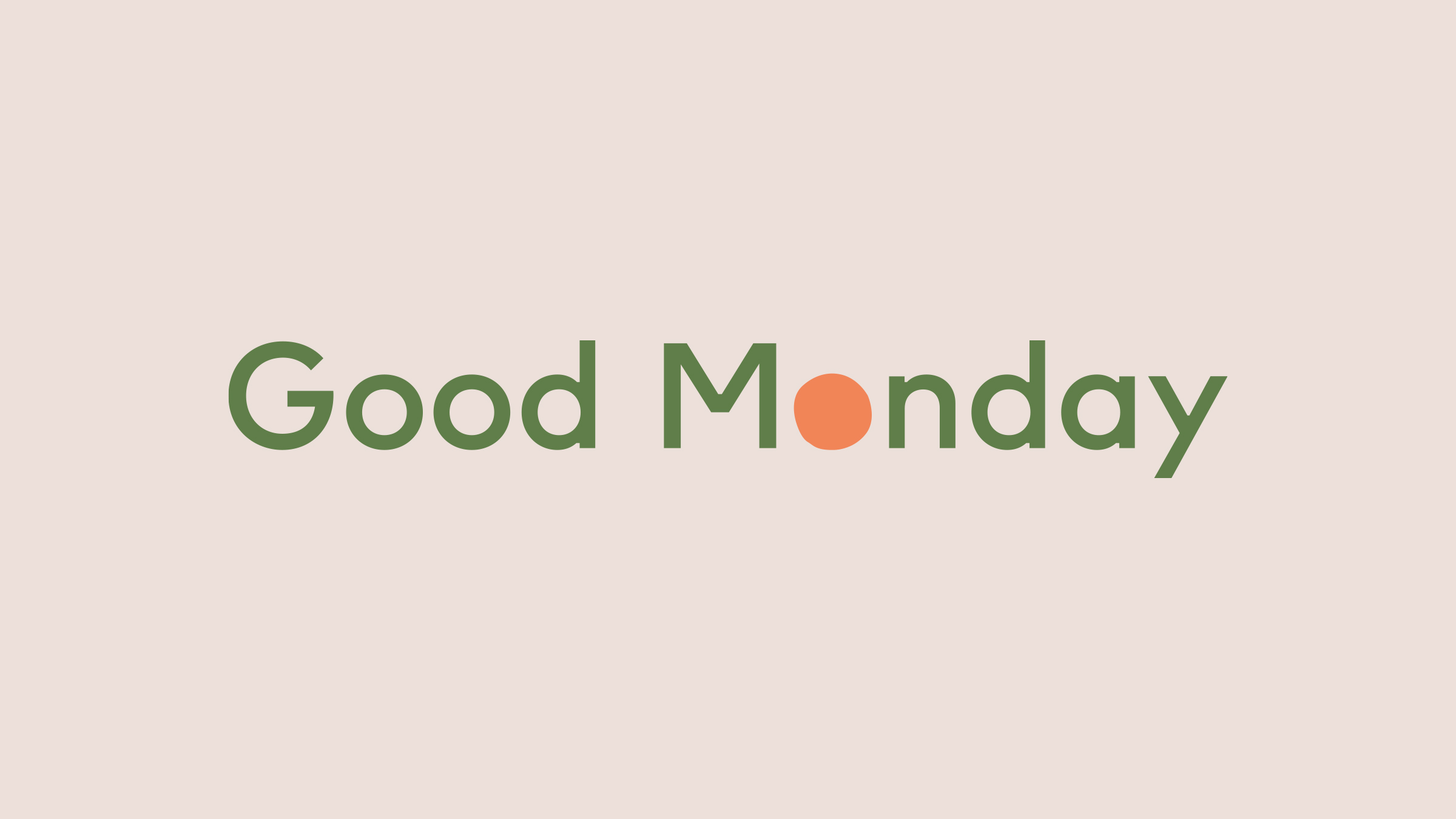 Good Monday brand logo green and orange on cream