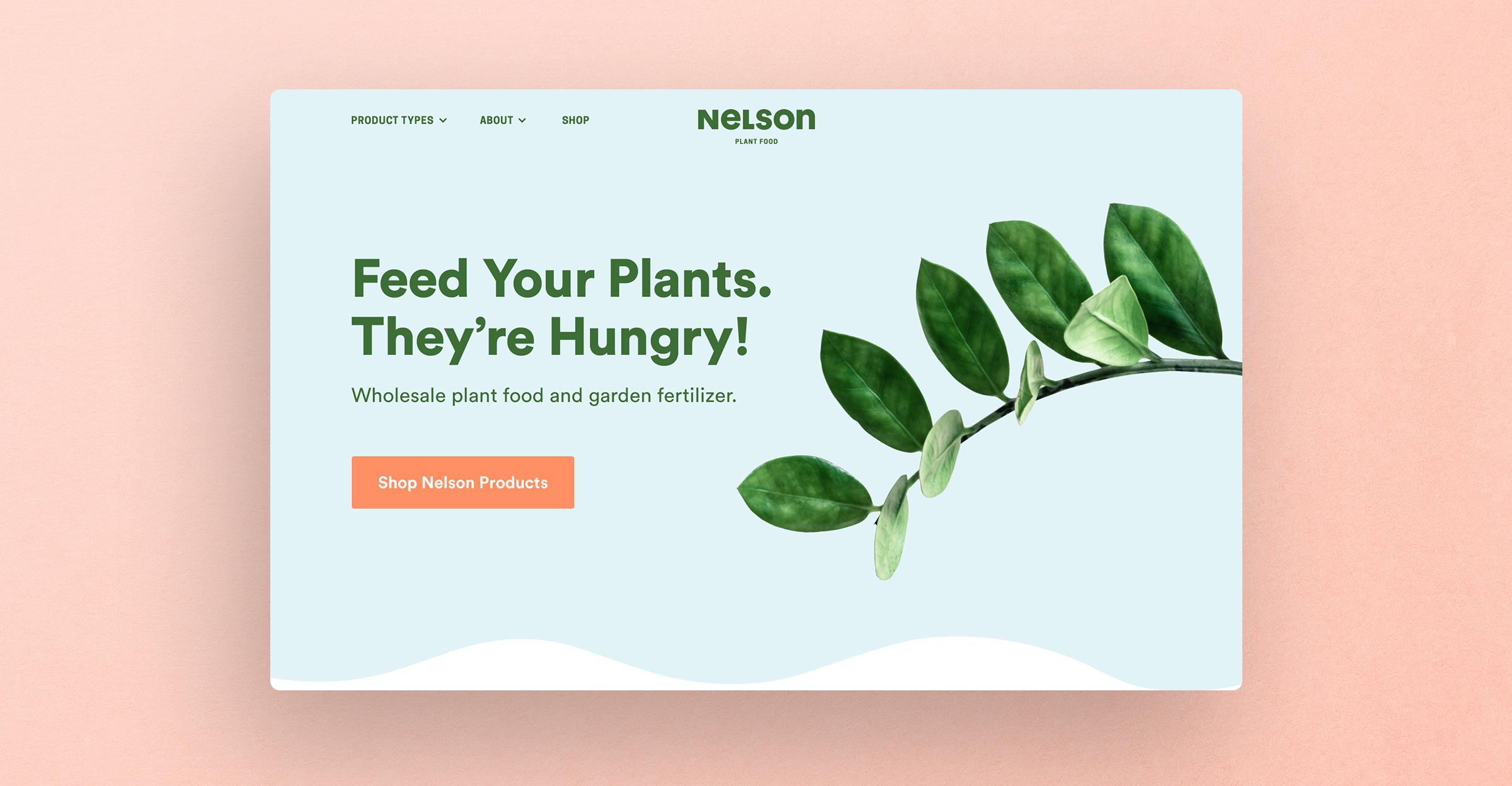 Nelson Plant Food homepage website mockup