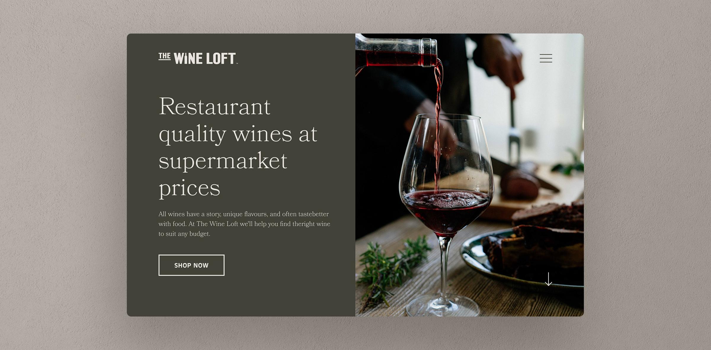 The Wine Loft homepage website mockup