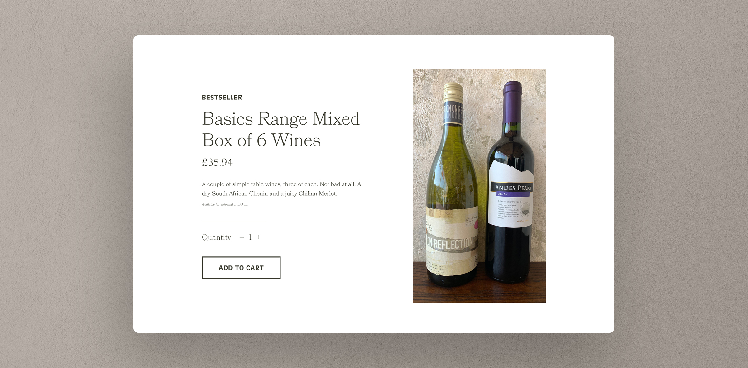 The Wine Loft subpage website mockup