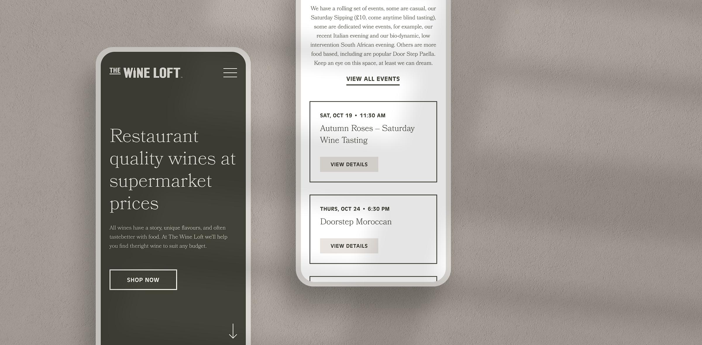 The Wine Loft mobile website mockup