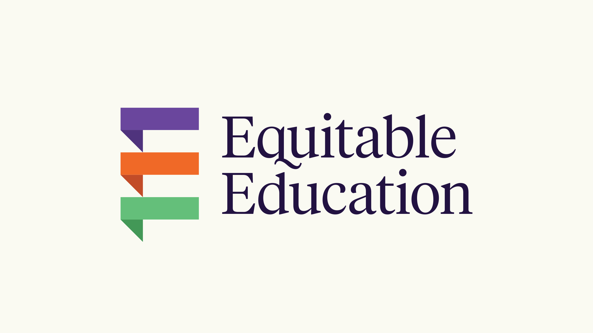 Equitable Education brand logo purple, green, and orange on cream