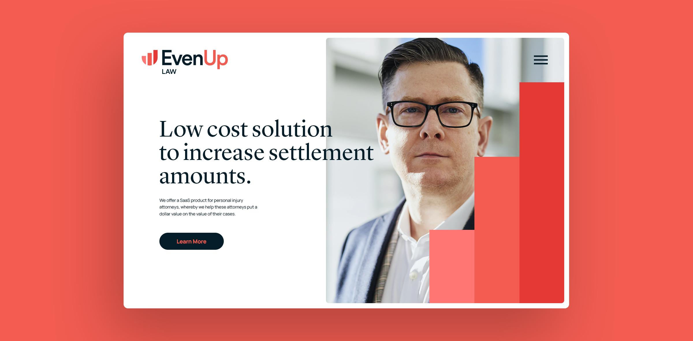 EvenUp homepage website mockup