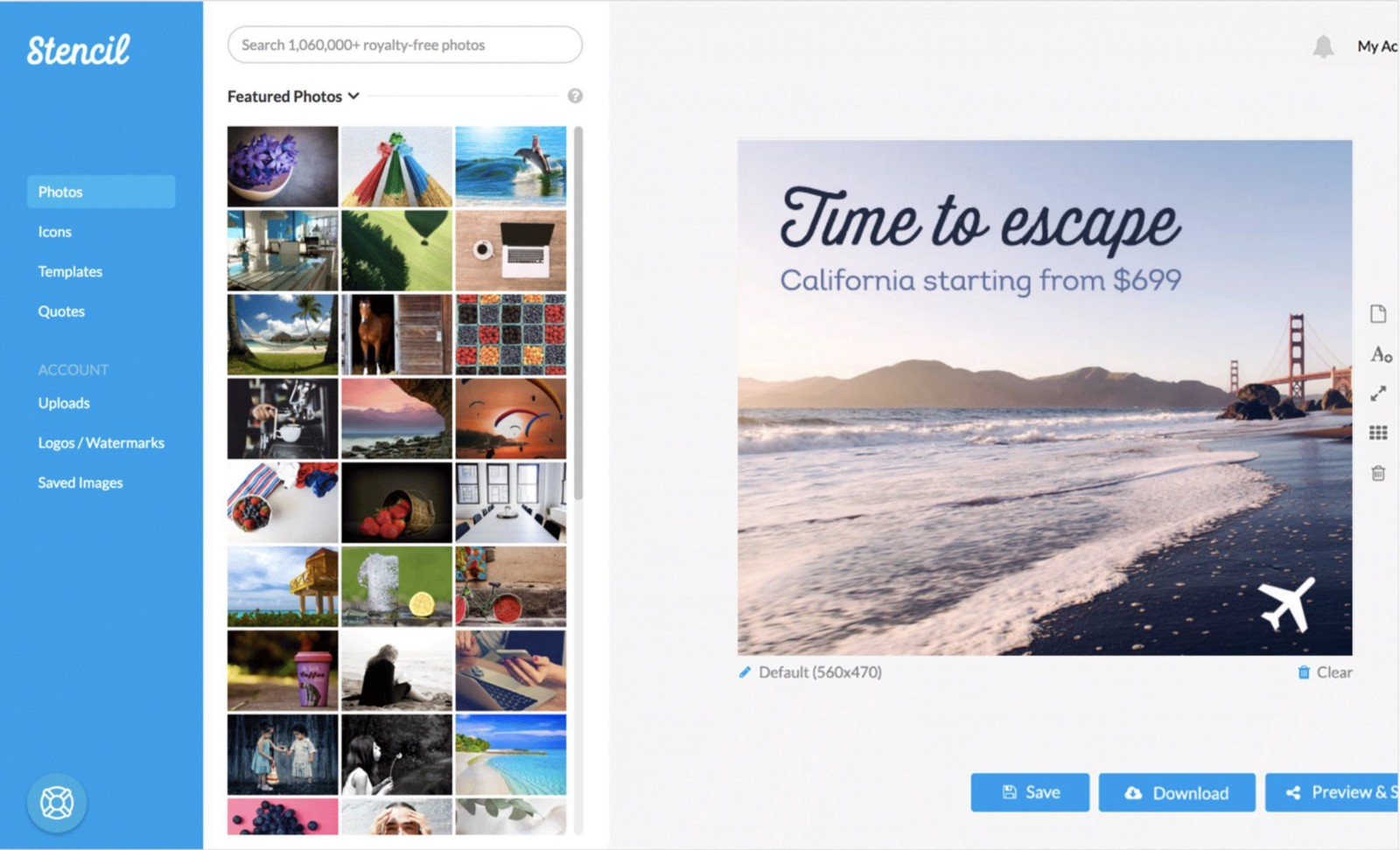 Stencil — design your social media posts with the simple drag&drop editor.