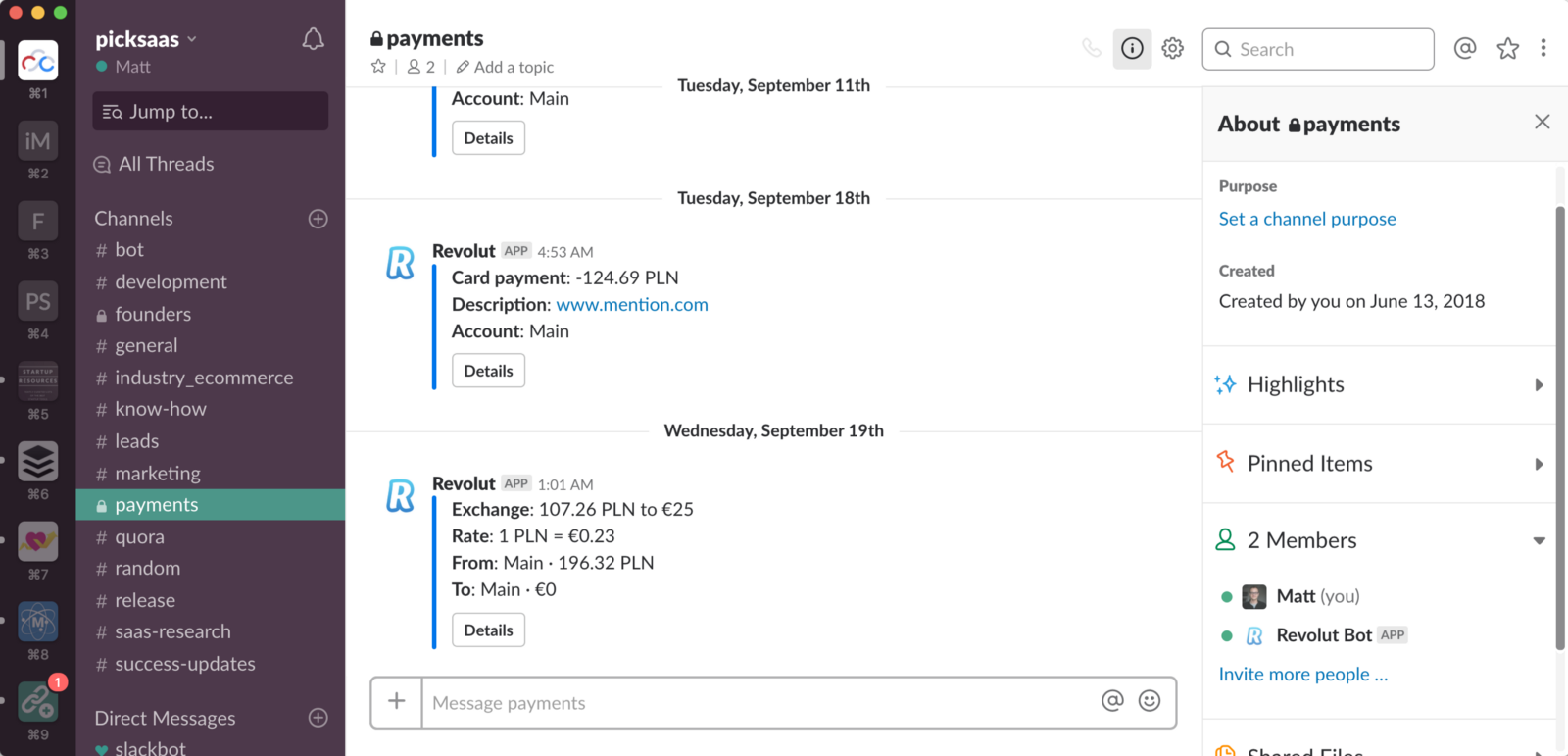 Revolut <> Slack integration