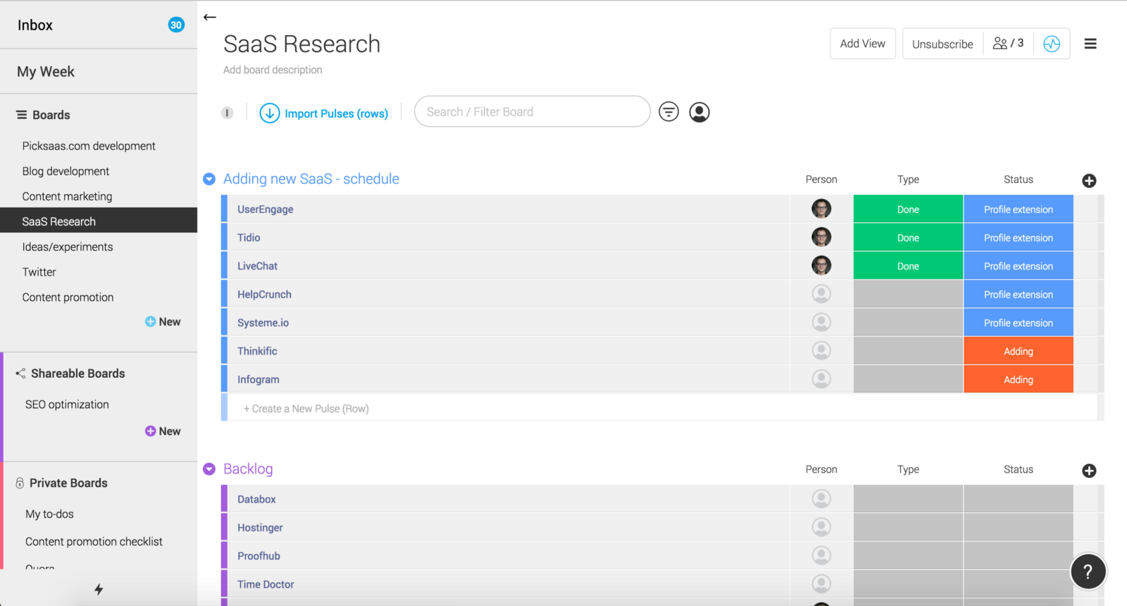 SaaS Research board -> schedule for software research
