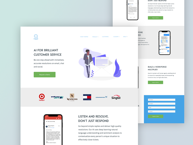Msg.ai - Landing Page Concept by Conor Organ on Dribbble