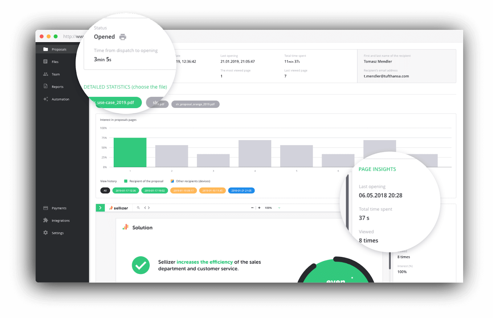 Sellizer that allows to track and analyze sent proposals and score leads effortlessly.