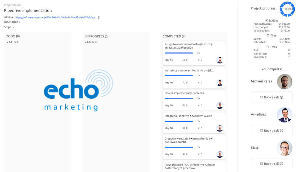 SoftwareSupp Expert implemented lead scoring and lead sources integration for EchoMarketing
