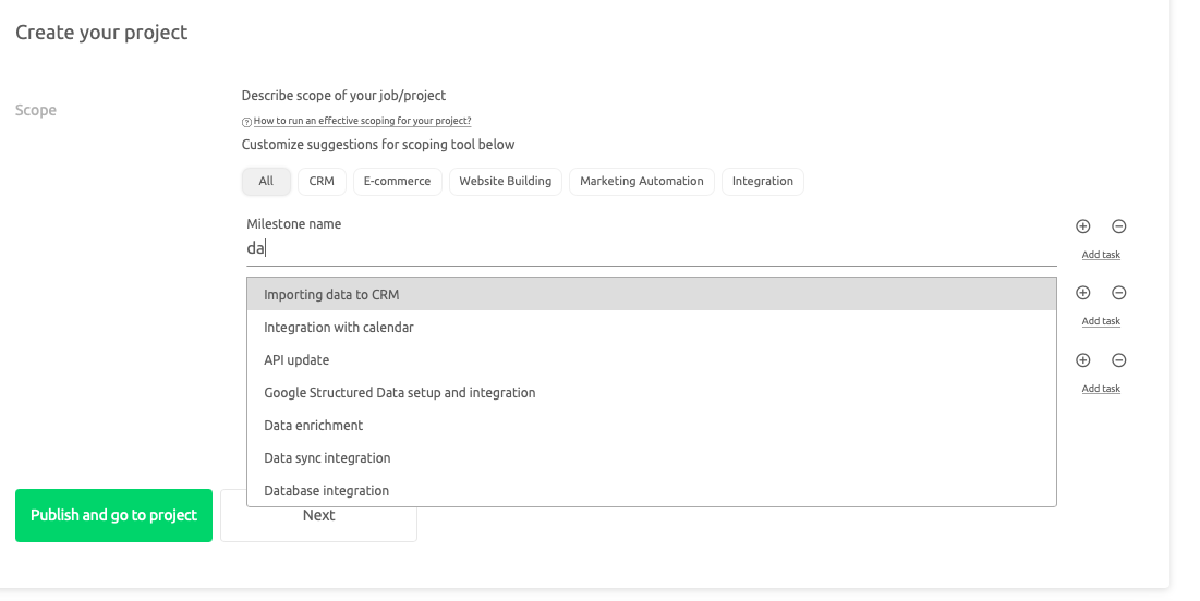Importing data to CRM as an example for project's task