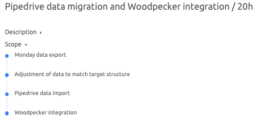 Data migration project's scope