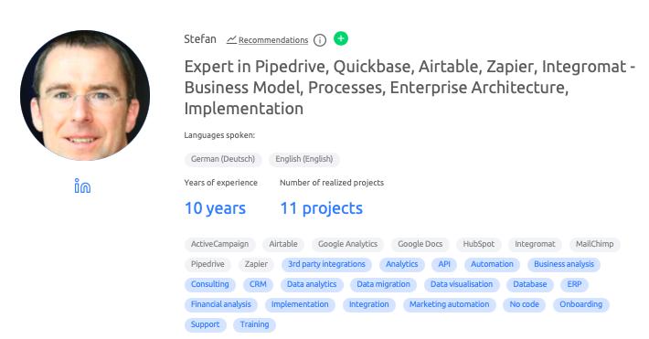 Pipedrive exert's profile