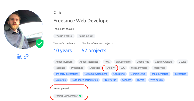 Web developer's skills