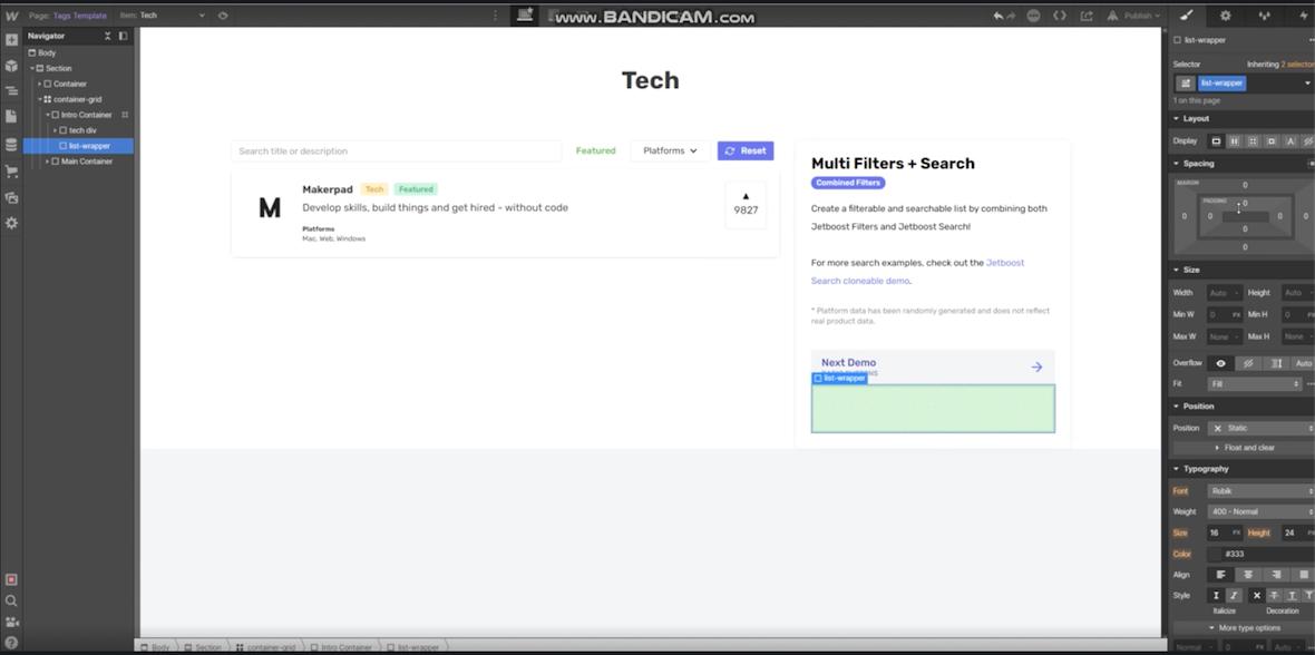 Setting of Jetboots on Webflow website