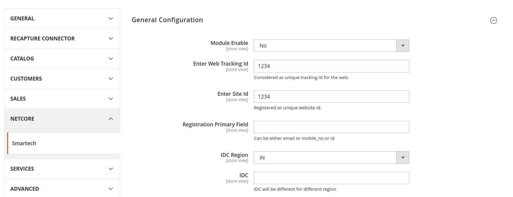 Netcore configuration for described features