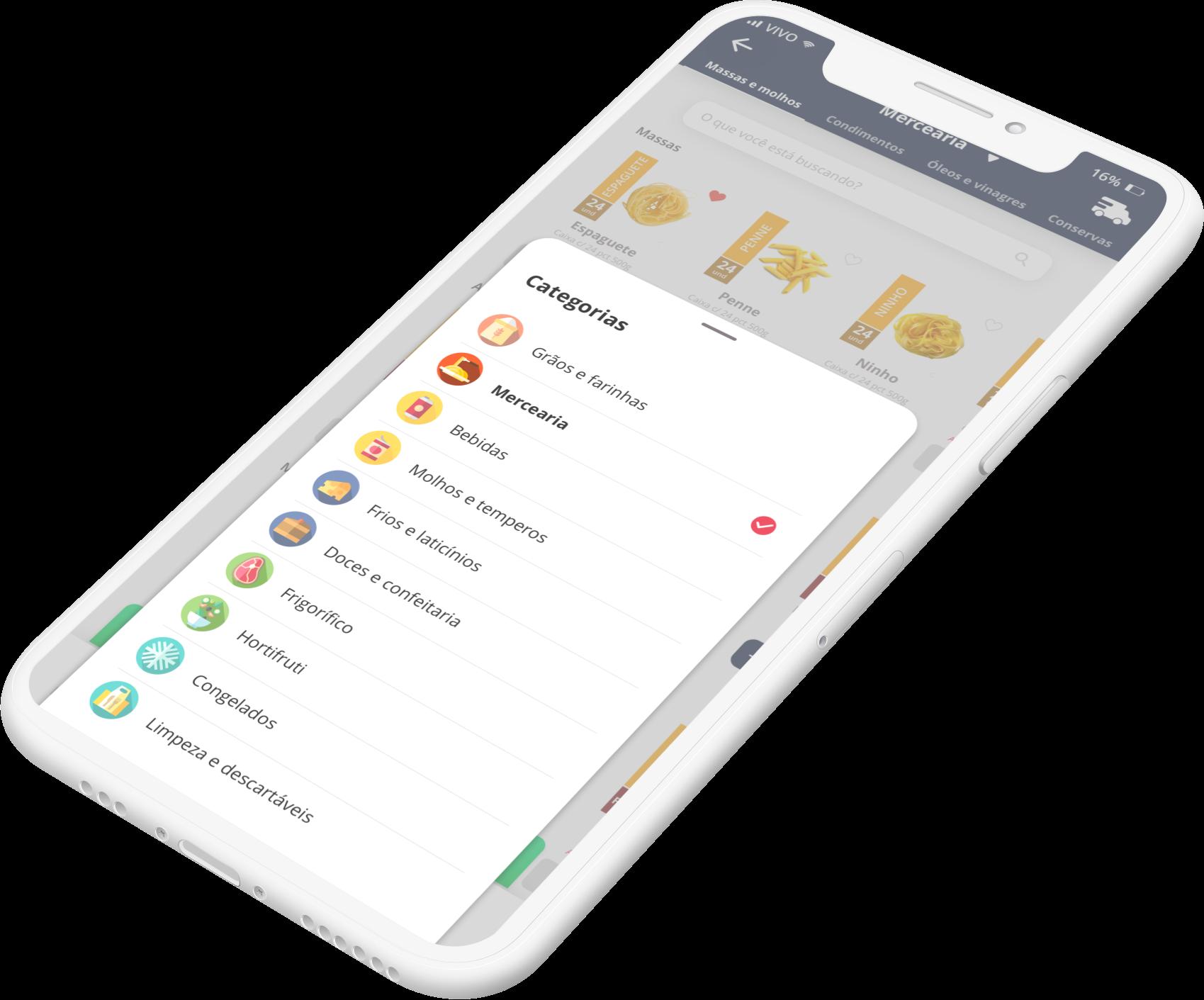 Cayena app screenshot, categories