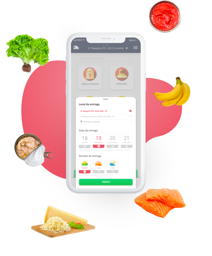 Cayena app screenshot surrounded by food ingredients