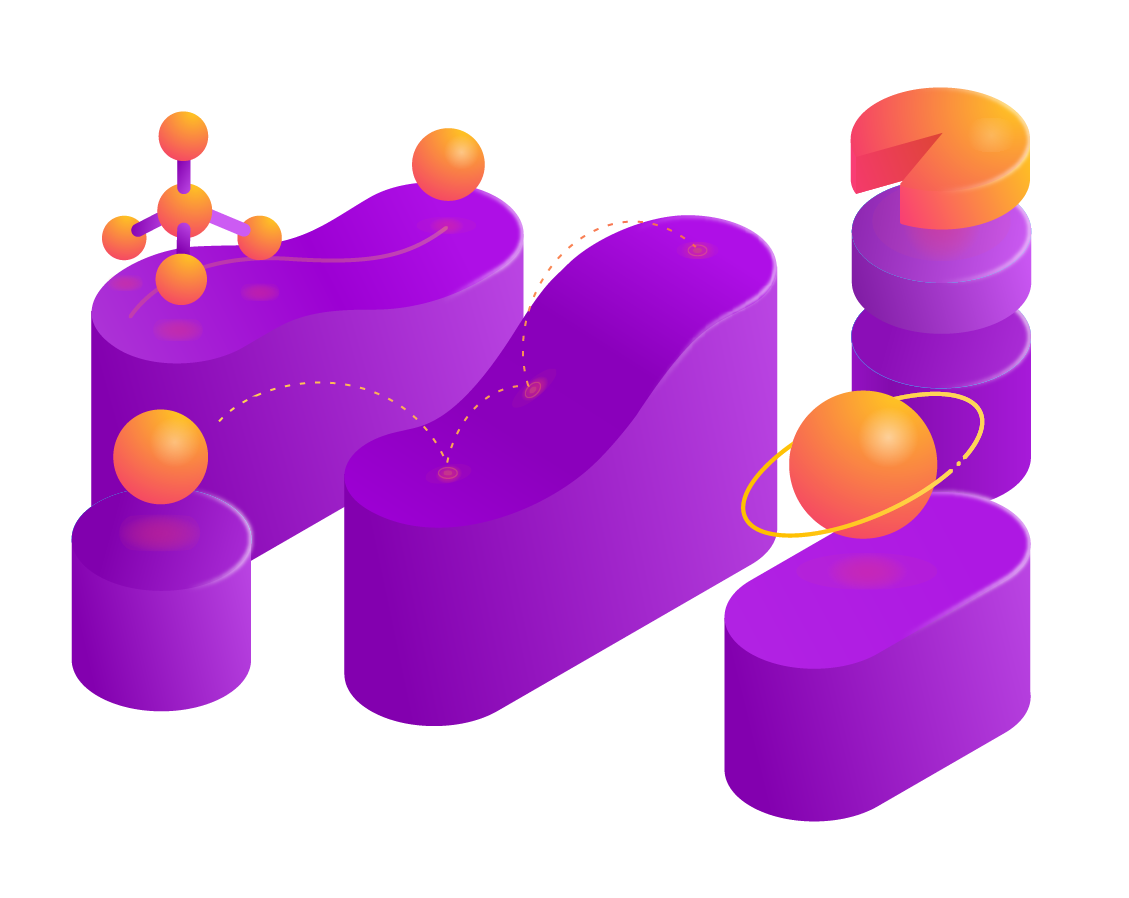 An illustration of several platforms at various heights with molecules and shapes bouncing around the platforms.