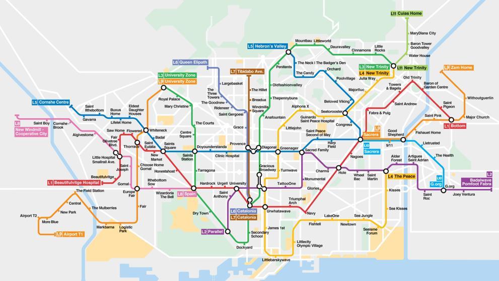 carte des transports de Barcelone
