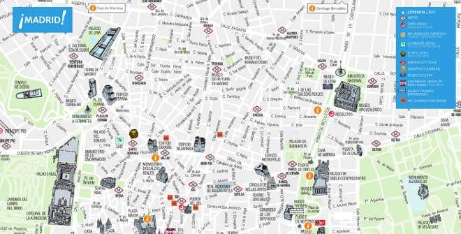 carte touristique de Madrid