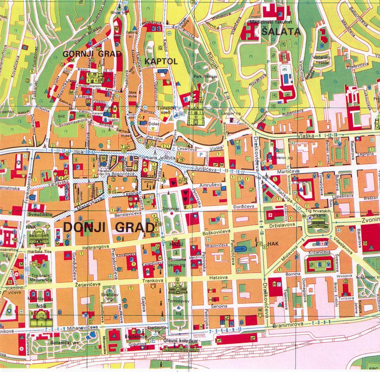 carte de Zagreb en croatie
