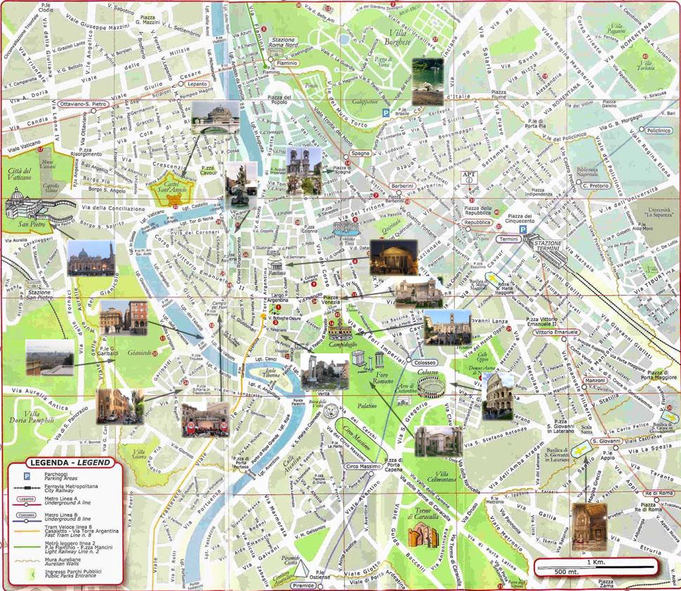 rome carte touristique