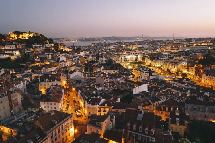 vue aerienne lisbonne portugal