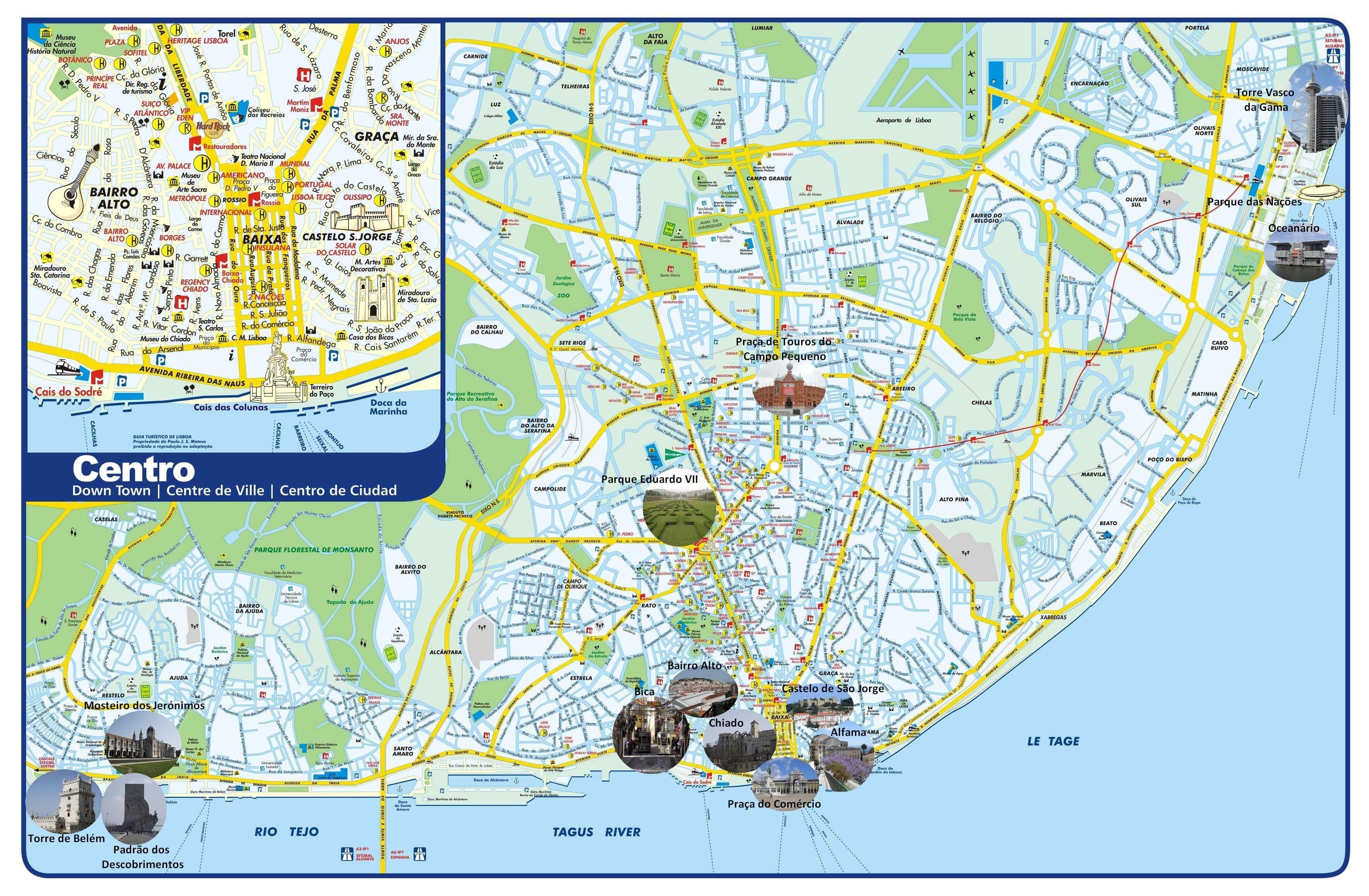 carte touristique lisbonne portugal