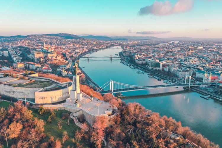 Vue aérienne de Budapest
