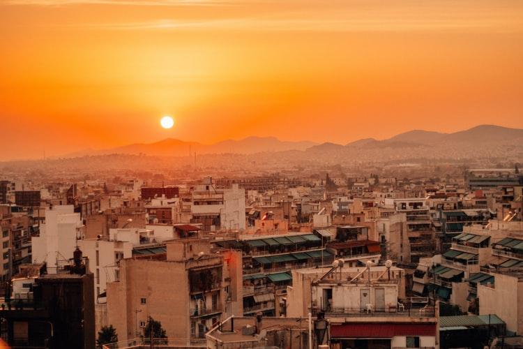 Coucher de soleil sur Athènes