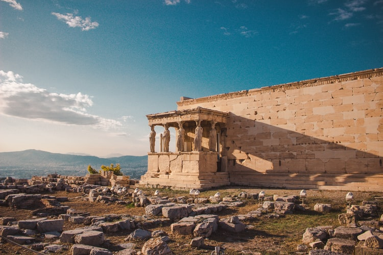 Les vestiges de la citadelle à Athènes