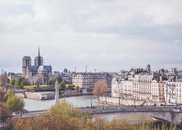 Vue sur l'île de la cité et la cathédrale Notre Dame