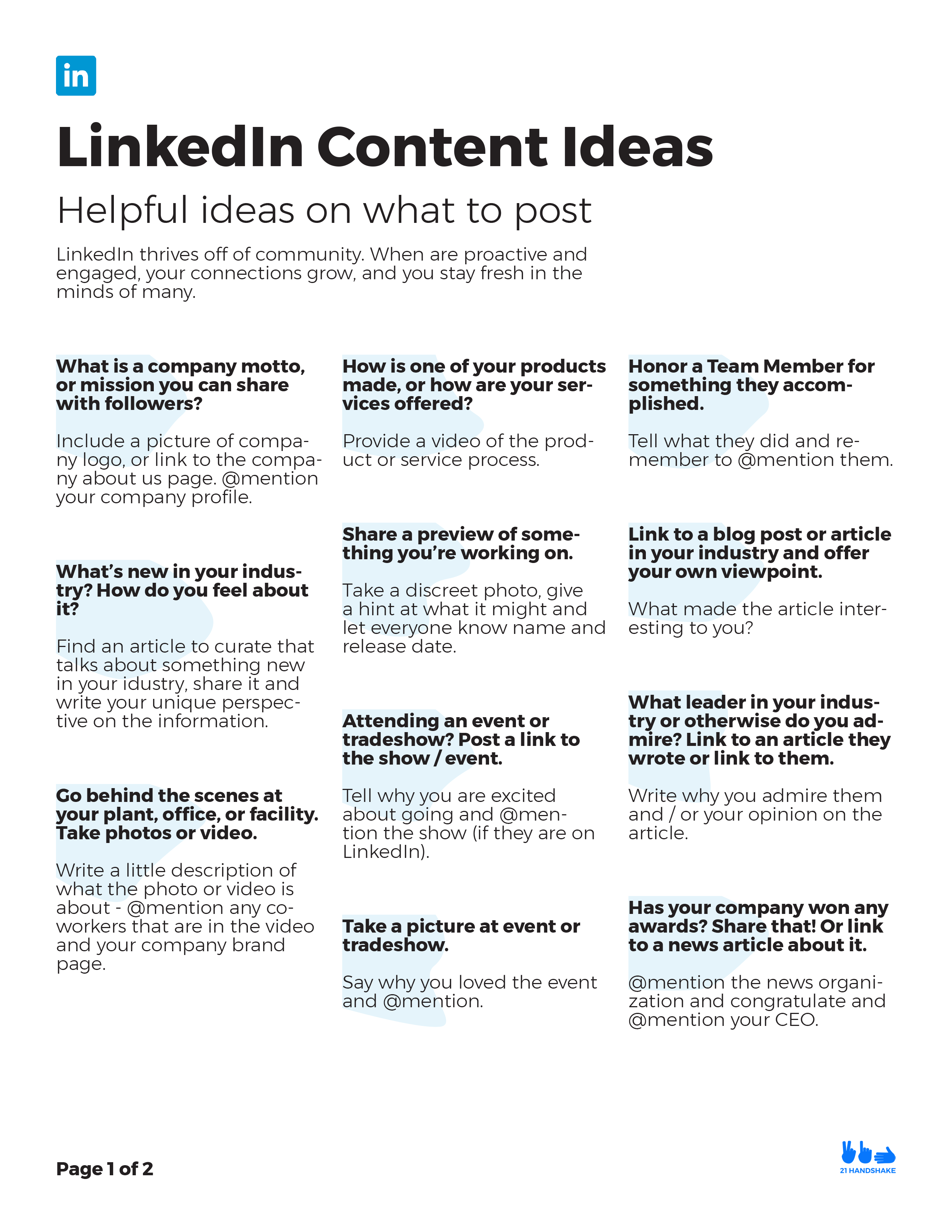 LinkedIn Content Ideas PDF Resource