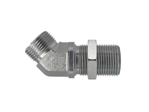 FF2702LN - Male Face Seal - Male Face Seal Bulkhead 45 Degree Elbow with Locknut