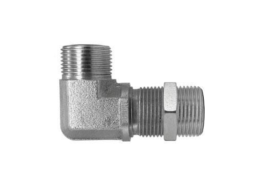 FF2701LN - Male Face Seal - Male Face Seal Bulkhead 90 Degree Elbow with Locknut