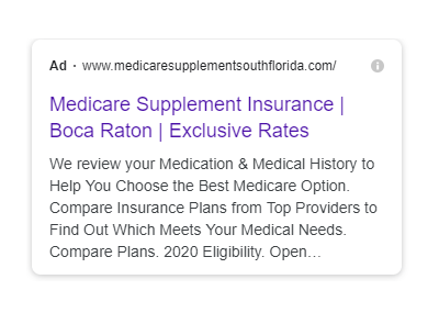 medicare supplement insurance ad copy